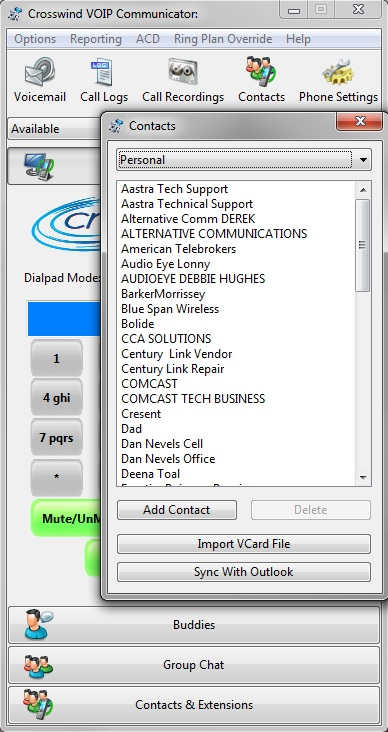 Communicator Contacts page window