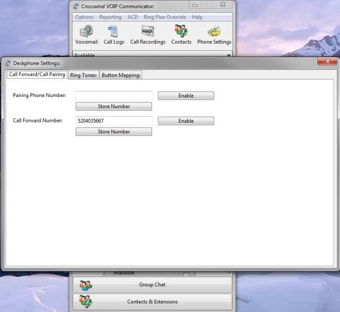 Communicator Phone Settings Window Callfwd.Callpairing