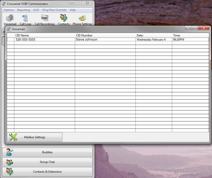 Communicator voice mail window